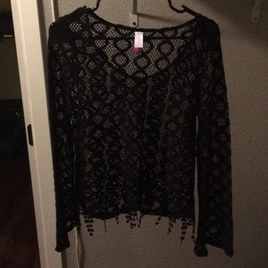 Black Crochet Bell Sleeve